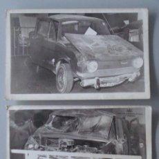 Postales: 2 FOTO POSTALES DE COCHES. AÑOS 60 70. SINIESTRO DE SIMCA, MÁLAGA, ACCIDENTE. 584. . Lote 39465207