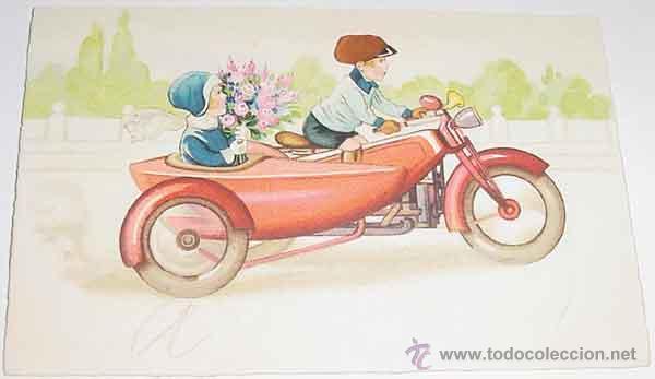 ANTIGUA POSTAL DE MOTO CON SIDECAR - ESCRITA - AÑOS 20 - 30 - AMAG (Postales - Postales Temáticas - Coches y Automóviles)