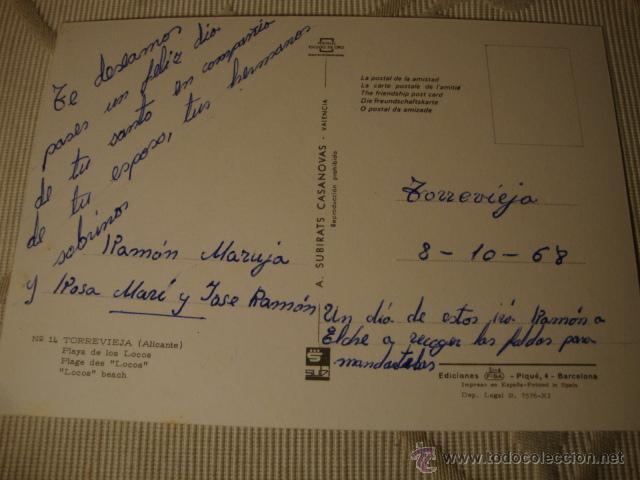 Postales: POSTAL TORREVIEJA ALICANTE COCHE COCHES VARIOS, PLAYA LOS LOCOS - Foto 3 - 43628611