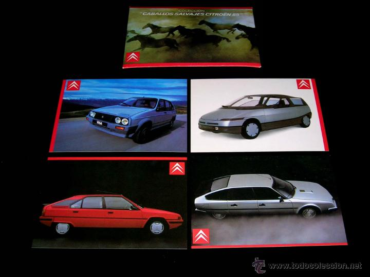 GRUPO POSTAL 4 POSTALES, PROMOCIONAL CITROËN CX GTI TURBO; BX; VISA; ECO. ORIGINAL 1985. (Postales - Postales Temáticas - Coches y Automóviles)