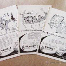 Postales: 3 POSTALES PUBLICITARIAS DIFERENTES DEL RENAULT 4 CV DE LOS AÑOS 60. POSTAL. Lote 49943422