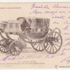Postales: COCHE DE LAS BODAS DE FERNANDO VII.. FRANQUEADO Y FECHADO EN 1901.. Lote 50986062