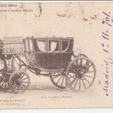 Postales: COCHE DE GALA DE CARLOS IV. FRANQUEADO Y FECHADO EN 1901. BONITO FRANQUEO.. Lote 50986121