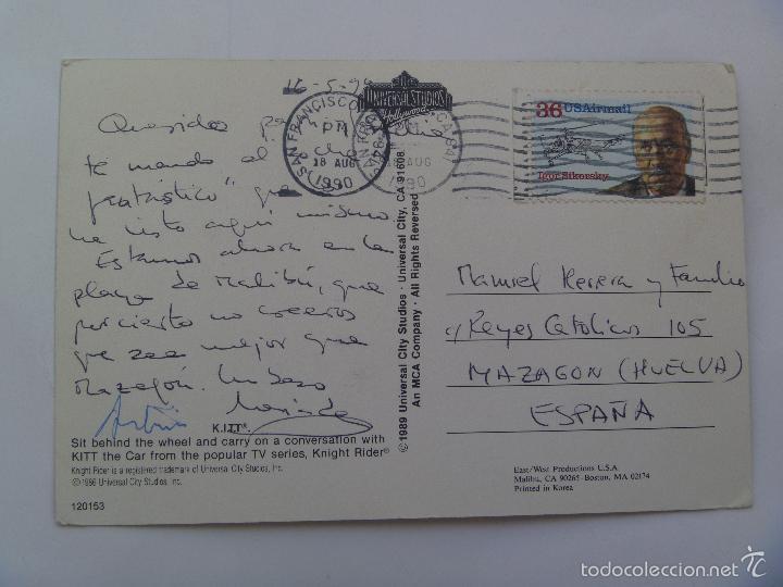 Postales: POSTAL DE ESTADOS UNIDOS : KITT , EL COCHE FANTASTICO . CIRCULADA A MAZAGON ( HUELVA ) - Foto 2 - 57736396