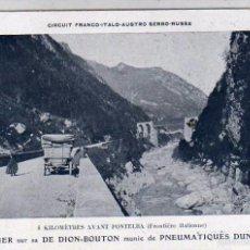 Postales: POSTAL CON PUBLIDAD DE DUNLOP DION BOUTON FRONTERA ITALIANA. COCHE. AUTOMOVIL. SIN CIRCULAR.. Lote 57872169