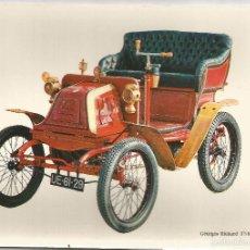 Postales: POSTAL COCHE DE EPOCA – GEORGES RICHARD 3,5 HP. (1900) - ED.C.P.V.A - SIN CIRCULAR. Lote 60734551