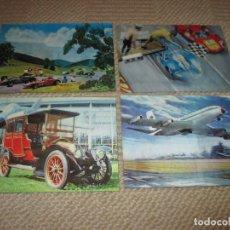 Postales: LOTE DE 4 POSTALES TRIDIMENSIONALES ANTIGUAS DE COCHES Y AVIONES, DE LOS AÑOS 60 O 70. POSTALES 3D . Lote 81237576