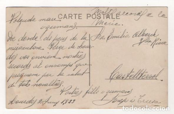 Postales: ANTIGUA POSTAL ESCRITA SIN SELLO AUTOBUS LOURDES LES PYRENEES AÑO 1933 - Foto 2 - 83858496