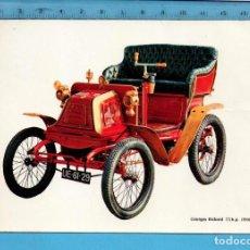Postales: POSTAL DE COCHE DEL AÑO 1900 DE GEORGES RICHARD SIN CIRCULAR PUBLICIDAD LA CAJA DE PENSIONES Y V.C.. Lote 97993243