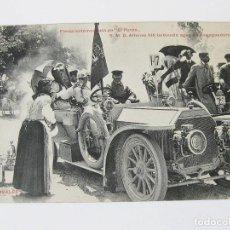 Postales: POSTAL DE LA FIESTA AUTOMOVILISTA EN EL PARDO. S.M.D. ALFONSO XIII BEBIENDO AGUA DE UNA AGUADORA.. Lote 101952487