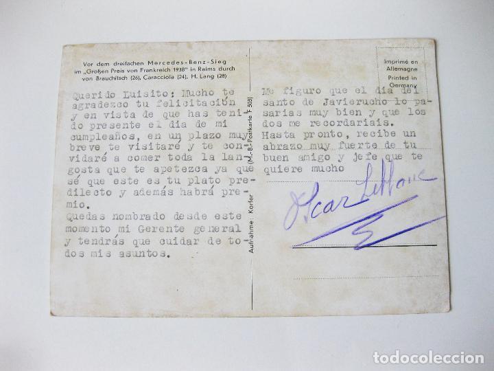 Postales: POSTAL ALEMANA DEL GRAN PREMIO DE FRANCIA MERCEDES BENZ DE 1938. W154 FRENCH RACING CAR - Foto 2 - 101953899