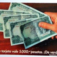 Postales: POSTAL ANTIGUA PUBLICIDAD PROMOCIÓN VALE 5000 PESETAS. SERVICIO OFICIAL SEAT. COCHES. AÑO 1975. Lote 102737403