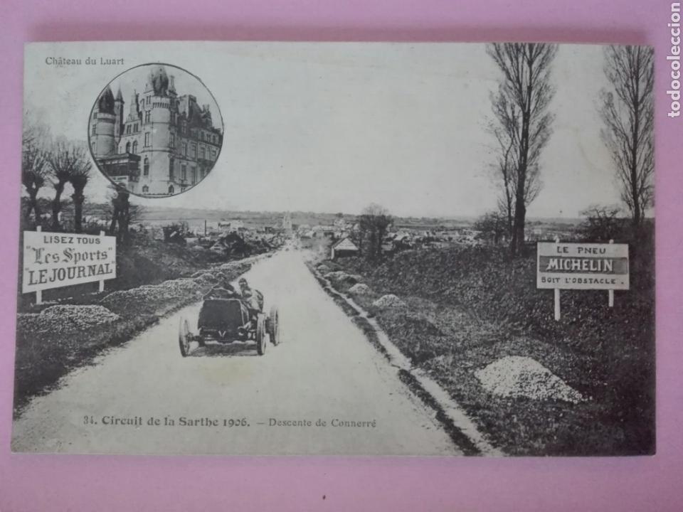 POSTAL FRANCIA CIRCUITO DE SARTHE 1906 DESCENTE DE CONNERRÉ (Postales - Postales Temáticas - Coches y Automóviles)