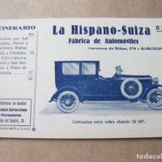 Postales: POSTAL PUBLICITARIA DE LA HISPANO SUIZA. B 3 ITINERARIO Nº III DEL REAL AUTOMOVIL CLUB DE CATALUÑA. Lote 105261379