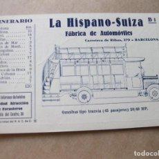 Postales: POSTAL PUBLICITARIA DE LA HISPANO SUIZA. B 1 ITINERARIO Nº 1 DEL REAL AUTOMOVIL CLUB DE CATALUÑA. Lote 105261471