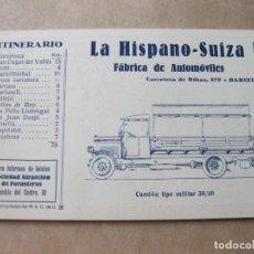 Postales: POSTAL PUBLICITARIA DE LA HISPANO SUIZA. B 5 ITINERARIO Nº V DEL REAL AUTOMOVIL CLUB DE CATALUÑA. Lote 105261547