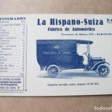 Postales: POSTAL PUBLICITARIA DE LA HISPANO SUIZA. B 4 ITINERARIO Nº 4 DEL REAL AUTOMOVIL CLUB DE CATALUÑA. Lote 105261591