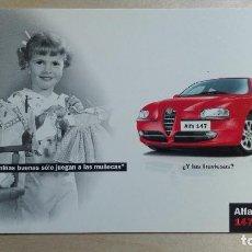 Postales: POSTAL PUBLICIDAD MOTOR ALFA ROMEO 147 AUTOMOVIL COCHE. AÑO 2002. Lote 110341911