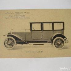 Cartes Postales: TARJETA POSTAL PUBLICITARIA DE LOS AUTOMÓVILES ROLLAND PILAIN. 12 HP. Lote 113694603