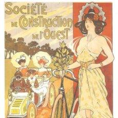 Postales: PUBLICIDAD DE EPOCA, CYCLES&AUTOMOBILES, SOC. DE CONSTRUCT. DEL OESTE, DIORT, SIN CIRCULAR. Lote 114702999