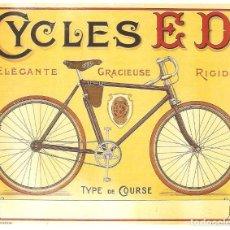 Postales: PUBLICIDAD DE EPOCA, BICICLETAS Y TURISMOS, CYCLES ED, TIPO DE CARRERAS , SIN CIRCULAR.. Lote 114703907