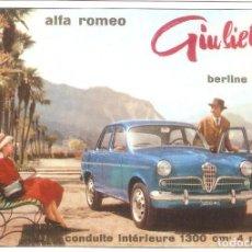 Postales: PUBLICIDAD DE EPOCA, ALFA ROMEO, GIULETTA, BERLINE T.I.4 PLAZAS, 1300 CM3 , SIN CIRCULAR.. Lote 114722823