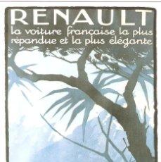 Postales: PUBLICIDAD DE EPOCA, REANAULT 1930, SIN CIRCULAR.. Lote 114724607