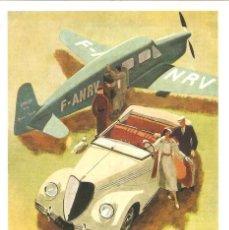 Postales: PUBLICIDAD DE EPOCA, RENAULT 1935, SIN CIRCULAR.. Lote 114724675