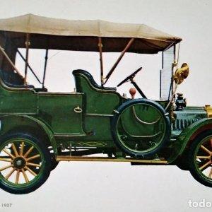 Postal Coche de época Dion-Bouton 1907 Coches de época - Coches antiguos 10,3 x 14,9 SIN CIRCULAR