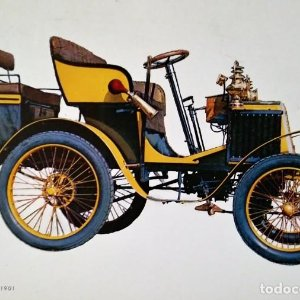 Postal Coche de época Renault 4 1/2 HP 1901 Coches antiguos 10,3 x 14,9 SIN CIRCULAR