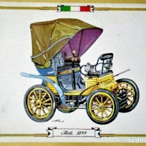 FIAT 1899 Postal Coches antiguos - coches de época - coches clásicos 15x10 sin circular