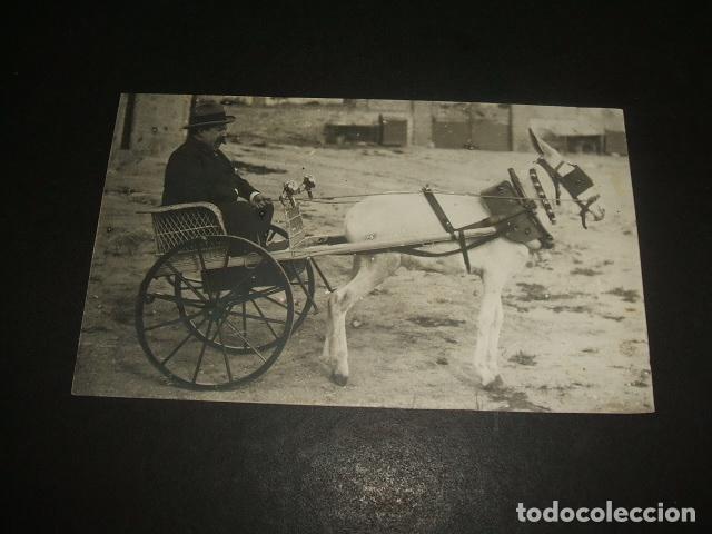 HOMBRE EN CARRO TIRADO POR BURRO POSTAL FOTOGRAFICA (Postales - Postales Temáticas - Coches y Automóviles)