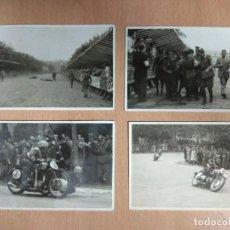 Postales: LOTE DE 4 FOTOGRAFIAS CARRERAS DE MOTOS. Lote 132335070