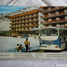 Postales: LINEA REGULAR DE AUTOBUSES - GRANADA A SIERRA NEVADA - EMPRESA BONAL. Lote 135369750