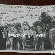 Postales: POSTAL DE LA COUPE CASABLANCA -TUNIS 1924, IMAGEN DEL GANADOR DEL RALLYE CON FIRMAS AUTOGRAFAS, CIRC. Lote 138550726