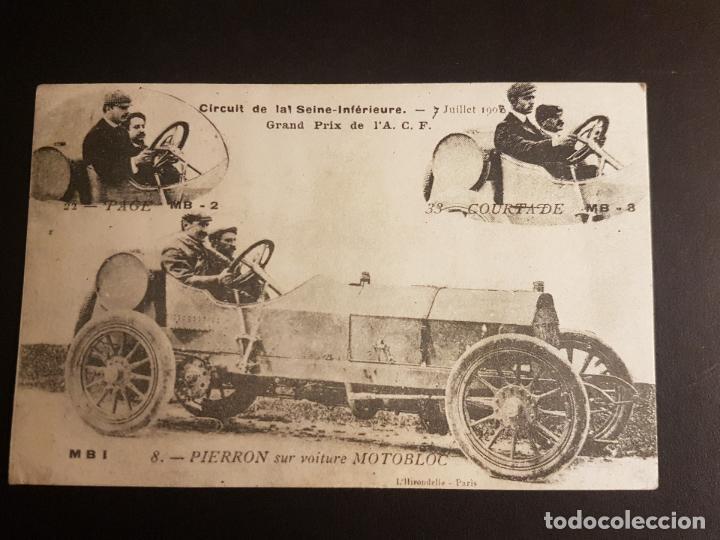 POSTAL AUTOMOVIL COCHE PIERRON Y SU AUTOMOVIL MOTOBLOC CONCURSO AUTOMOVILISTICO 1908 (Postales - Postales Temáticas - Coches y Automóviles)