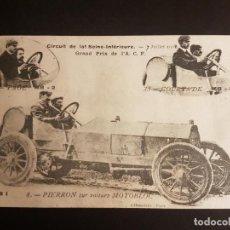 Postales: POSTAL AUTOMOVIL COCHE PIERRON Y SU AUTOMOVIL MOTOBLOC CONCURSO AUTOMOVILISTICO 1908. Lote 140599970
