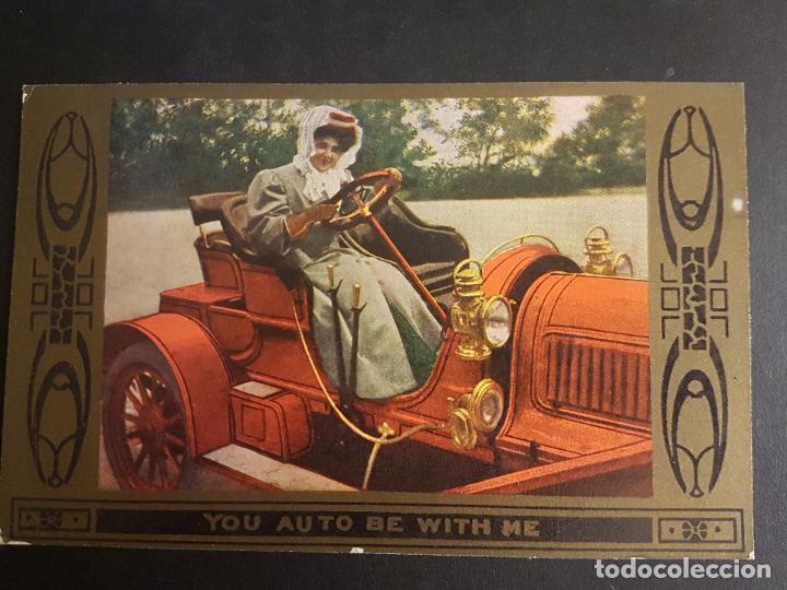 POSTAL AUTOMOVIL COCHE MUJER CONDUCIENDO HACIA 1910 (Postales - Postales Temáticas - Coches y Automóviles)