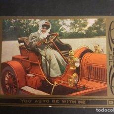 Postales: POSTAL AUTOMOVIL COCHE MUJER CONDUCIENDO HACIA 1910. Lote 140600430
