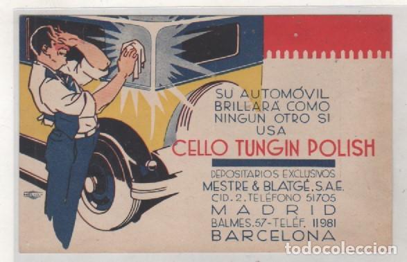 POSTAL PUBLICITARIA SU AUTOMOVIL BRILLA CON CELLO TUNGIN POLISH. MADRID Y BARCELONA. (Postales - Postales Temáticas - Coches y Automóviles)