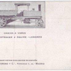 Postales: POSTAL PUBLICITARIA CAMIÓN A VAPOR SYDNEY STRAKER & SQUIRE - ALFREDO MORENO Y CÍA - MADRID (AÑOS 10). Lote 147635310