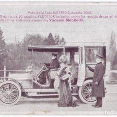 Postales: POSTAL PUBLICITARIA VACUUM OIL COMPANY: AUTO DE LA CASA DIETRICH MODELO 1906 (BARCELONA). Lote 147637510