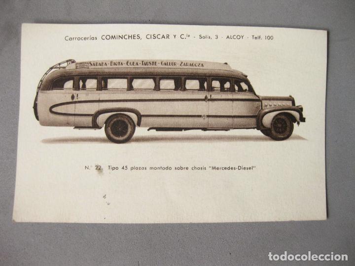 POSTAL PUBLICITARIA DE CARROCERIAS COMINCHES CISCAR. ALCOY. ZARAGOZA. AUTOBUS MERCEDES (Postcards - Themed - Cars and Motor Vehicles)