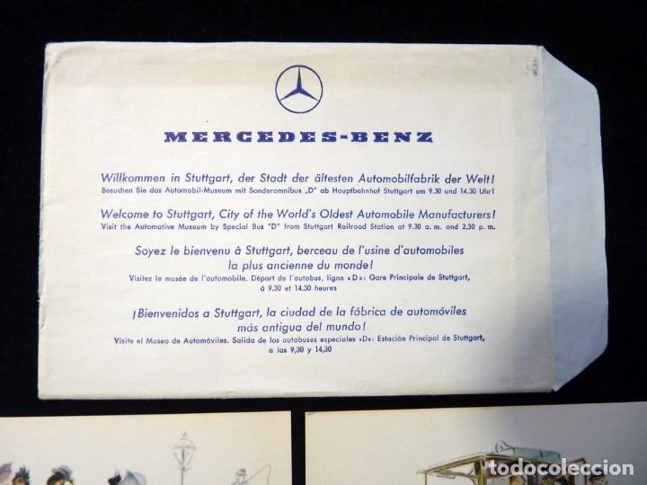Postales: LOTE DE 4 ANTIGUAS POSTALES + SOBRE ORIGINAL, COCHES MERCEDES-BENZ, STUTTGART. SOUVENIR AÑOS 50. NUE - Foto 2 - 152417914