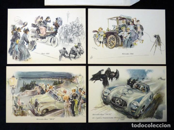 Postales: LOTE DE 4 ANTIGUAS POSTALES + SOBRE ORIGINAL, COCHES MERCEDES-BENZ, STUTTGART. SOUVENIR AÑOS 50. NUE - Foto 3 - 152417914