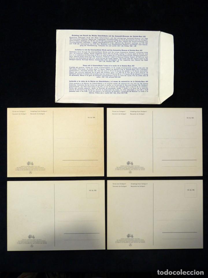 Postales: LOTE DE 4 ANTIGUAS POSTALES + SOBRE ORIGINAL, COCHES MERCEDES-BENZ, STUTTGART. SOUVENIR AÑOS 50. NUE - Foto 8 - 152417914