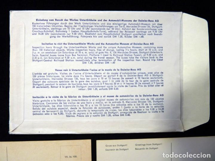 Postales: LOTE DE 4 ANTIGUAS POSTALES + SOBRE ORIGINAL, COCHES MERCEDES-BENZ, STUTTGART. SOUVENIR AÑOS 50. NUE - Foto 9 - 152417914