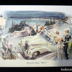 Postales: POSTAL COCHE MERCEDES-BENZ 300 S, STUTTGART. SOUVENIR. CIRCULADA 1957. Lote 152418102