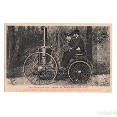 Postales: DION-BOUTON & CIA.- PRIMER VEHÍCULO CON CINTURÓN EN CIRECCION 1883. Lote 155020110