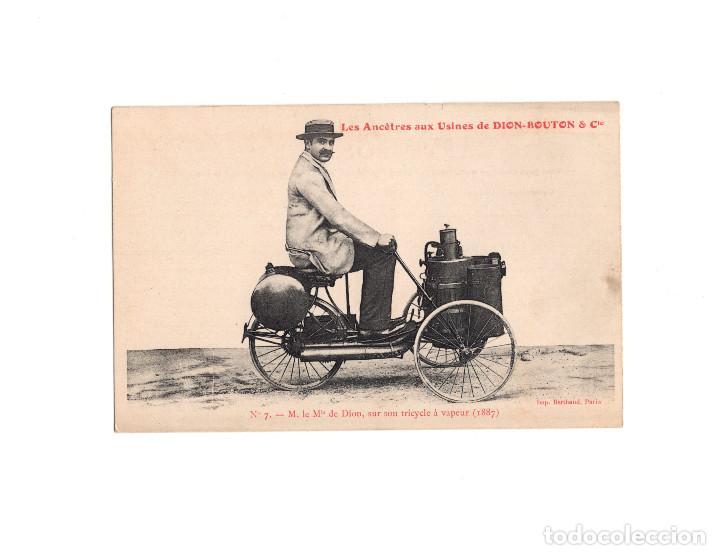 DION-BOUTON & CIA.- EL SEÑOR DION SOBRE SU TRICICLO DE VAPOR 1887 (Postales - Postales Temáticas - Coches y Automóviles)